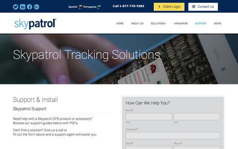 Screenshot of Support Page skypatrol.com - Support & Install | Skypatrol - captured Oct. 8, 2017