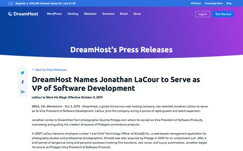 Screenshot of Press Page dreamhost.com - DreamHost Names Jonathan LaCour to Serve as VP of Software Development  – DreamHost - captured Feb. 21, 2020