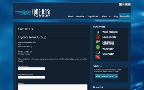 Screenshot of Contact Page hydro-terra.com - Contact Us | Hydro-Terra Group - captured Oct. 3, 2014