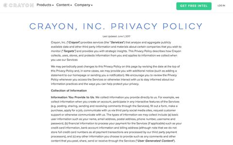 Screenshot of Privacy Page crayon.co - Crayon Privacy Policy - captured June 7, 2017