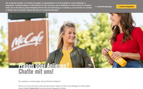 Screenshot of Contact Page mcdonalds.de - Chatbot - captured Aug. 19, 2019