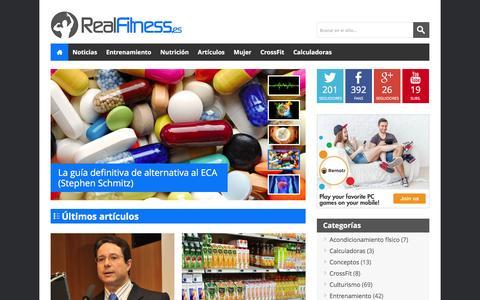 Screenshot of Home Page realfitness.es - RealFitness - Nutrición, fitness y salud basado en la ciencia - captured Feb. 12, 2016