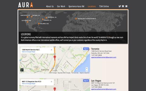 Screenshot of Locations Page auraxm.com - :: AuraXM :: - captured Oct. 22, 2014
