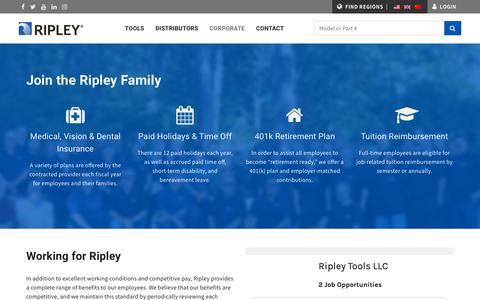 Screenshot of Jobs Page ripley-tools.com - Work For Ripley - captured Oct. 20, 2018