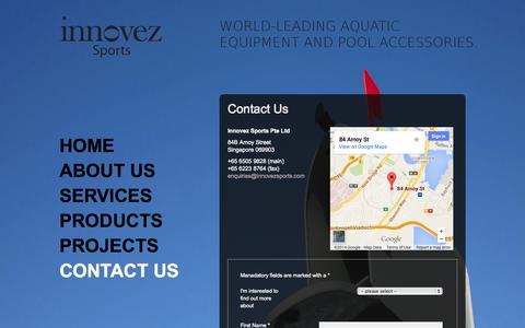 Screenshot of Contact Page innovezsports.com - Contact: Innovez Sports - captured Sept. 30, 2014