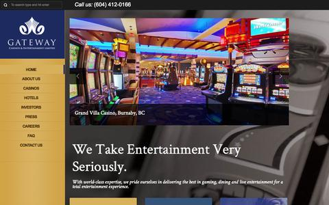 Screenshot of Home Page gatewaycasinos.com - http://www.gatewaycasinos.com - captured Oct. 2, 2014