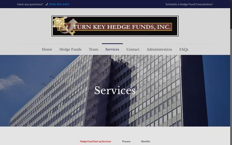 Screenshot of Services Page turnkeyhedgefunds.com - Turn Key Hedge Funds - Starting a Hedge Fund - captured Dec. 11, 2018
