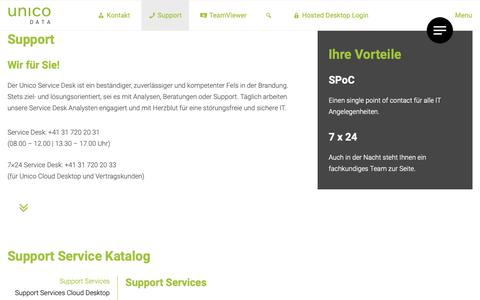 Screenshot of Support Page unicodata.ch - Support Services - Unico Data AG - captured Oct. 18, 2018