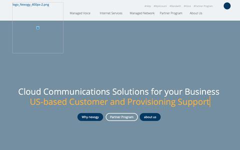 Screenshot of Home Page nexogy.com - Cloud Based Business Phone System  | nexogy - captured April 6, 2019