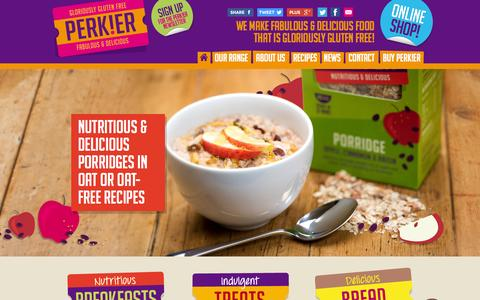Screenshot of Home Page perkier.co.uk - Perkier Gluten Free Food | Breakfast cereals, porridges, porridge pots - captured Oct. 2, 2014