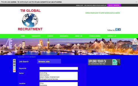 Screenshot of Jobs Page tmglobalrecruitment.com - Job Search - TM GLOBAL RECRUITMENT - captured Feb. 16, 2016