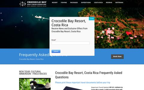 Screenshot of FAQ Page crocodilebay.com - Costa Rica FIshing FAQ - Crocodile Bay Frequently Asked Questions - captured July 5, 2017
