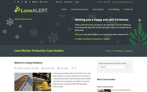 Screenshot of Case Studies Page lonealert.co.uk - Lone Worker Protection Case Studies from LoneALERT - captured Dec. 13, 2015