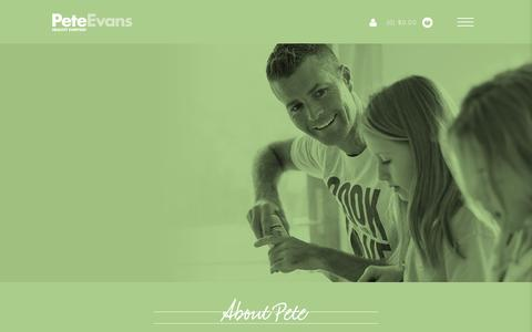 Screenshot of About Page peteevans.com - Pete Evans - captured Feb. 11, 2017