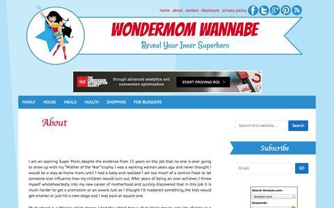 Screenshot of About Page wondermomwannabe.com - About - WONDERMOM WANNABE - captured Oct. 26, 2014