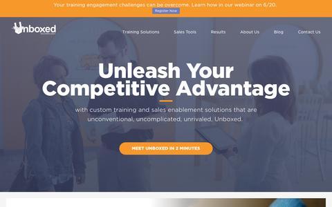 Screenshot of Home Page unboxedtechnology.com - Unboxed Technology: Training + Technology for Sales Teams - captured June 18, 2017
