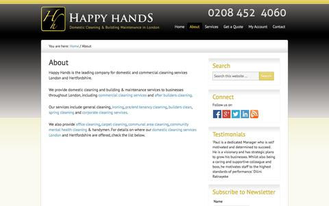 Screenshot of About Page happy-hands.biz - Cleaning Services London - Cleaning Agency London | Happy Hands - captured Oct. 1, 2014