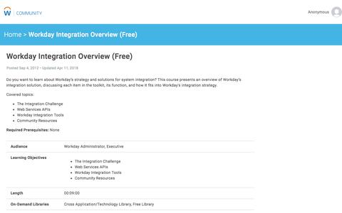 Workday Integration Overview (Free)   Workday Community