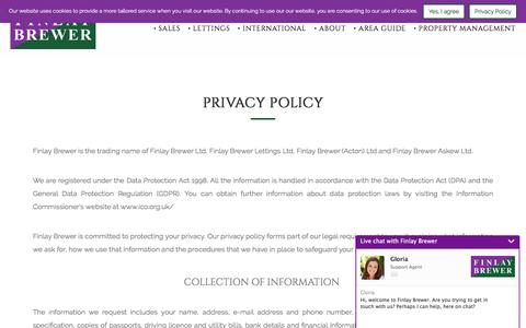 Screenshot of Privacy Page finlaybrewer.co.uk - Finlay Brewer Estate Agents - captured Aug. 13, 2018