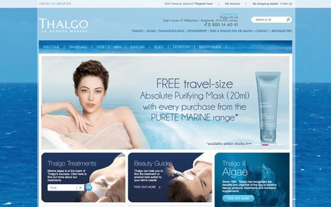 Screenshot of Home Page thalgo.co.uk - Thalgo La Beauté Marine United Kingdom, Products and treatments, Instituts, Thalassotherapy and Spas Thalgo. - captured Oct. 21, 2017