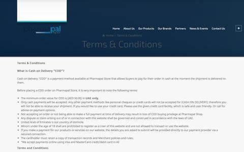 Screenshot of Terms Page pharmapal.ae - Terms & Conditions – Pharmapal Middle East - captured May 17, 2017