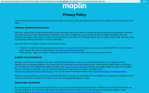 Screenshot of Privacy Page maplin.co.uk - maplin | Connecting Brilliant Ideas - captured Sept. 21, 2018
