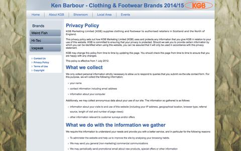 Screenshot of Privacy Page kgbmarketing.co.uk - Privacy Policy - captured Oct. 6, 2014
