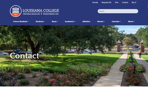 Screenshot of Contact Page lacollege.edu - Contact | Louisiana College - captured Sept. 29, 2018