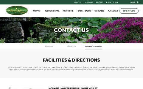 Screenshot of Locations Page hopkinslawver.com - Facilities & Directions | Hopkins Lawver Funeral Home Inc. - Akron, OH - captured Oct. 22, 2018