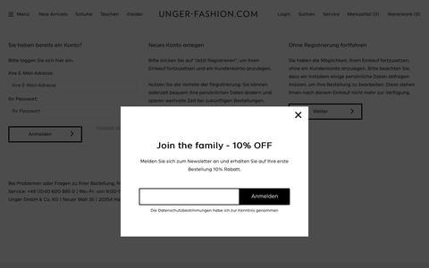 Screenshot of Login Page unger-fashion.com - Registrierung   unger-fashion.com - captured Oct. 9, 2018