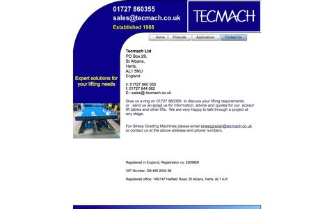 Screenshot of Contact Page tecmach.co.uk - Contact Us – Custom Scissor Lift Suppliers | Tecmach | Hertfordshire | UK - captured Oct. 27, 2014
