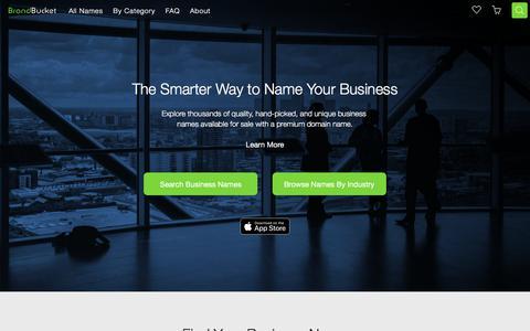 Screenshot of Home Page brandbucket.com - BrandBucket | Find and Buy Creative Business Names - captured Jan. 12, 2018