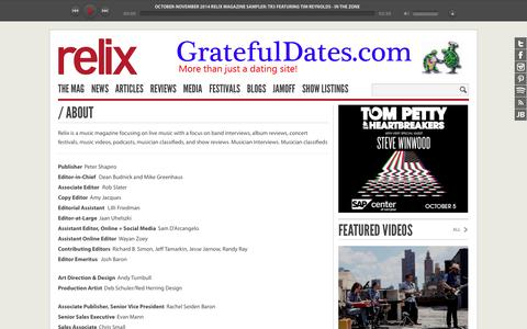 Screenshot of About Page relix.com - About : Relix - captured Oct. 26, 2014