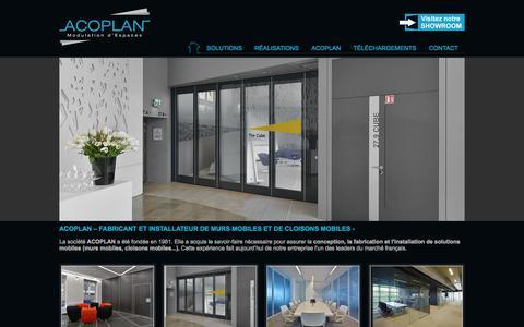 Screenshot of Home Page acoplan.fr - ACOPLAN   Modulation d'Espaces - captured Oct. 4, 2014
