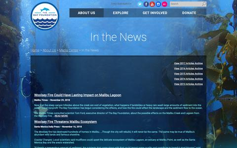 Screenshot of Press Page santamonicabay.org - In the News - The Bay Foundation - captured Dec. 17, 2018