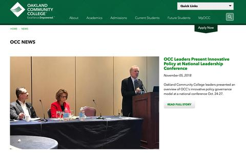 Screenshot of Press Page oaklandcc.edu - OCC News - captured Nov. 8, 2018