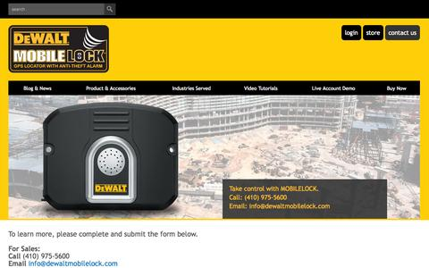 Screenshot of Contact Page dewaltmobilelock.com - dewalt mobilelock portable alarm with GPS: call or email us - captured Oct. 2, 2014