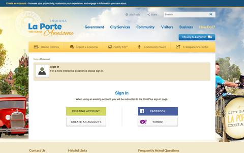 Screenshot of Login Page cityoflaporte.com - City of La Porte, IN - Official Website - captured Sept. 28, 2018