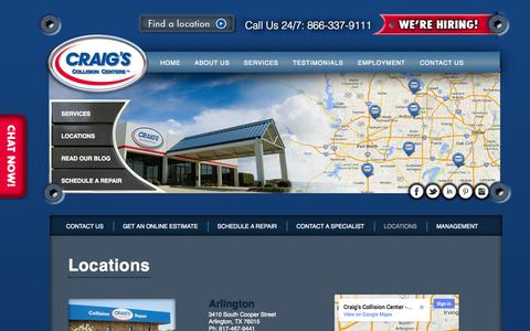 Screenshot of Locations Page craigscollision.com - 6 Locations in DFW to Serve You | Craig's Collision - captured Oct. 3, 2014
