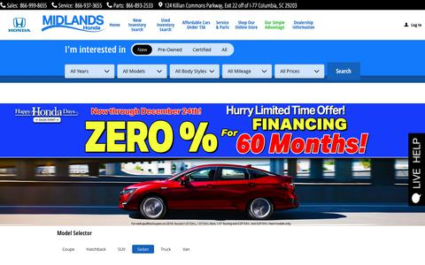 Screenshot of Home Page midlandshonda.com - Midlands Honda: Honda Dealership Columbia SC | Near Lexington - captured Dec. 20, 2018