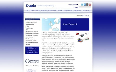 Screenshot of About Page duplouk.com - About Duplo UK - captured Jan. 7, 2016