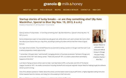 Screenshot of Press Page milkandhoneygranola.com - News Archives - Milk and Honey granola - captured Aug. 15, 2016