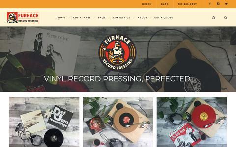 Screenshot of Home Page furnacemfg.com - Furnace Record Pressing | Custom Vinyl Records | Vinyl Pressing - captured Oct. 11, 2018