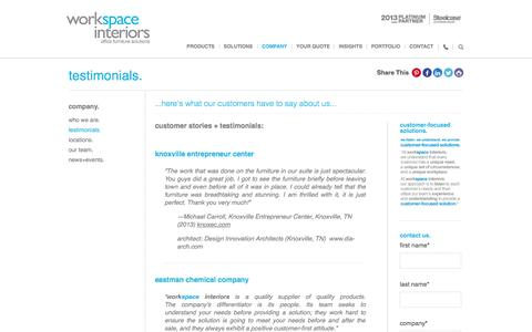 Screenshot of Testimonials Page workspaceinteriors.com - customer stories - workspace interiors, inc. - captured Oct. 26, 2014