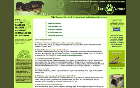 Screenshot of FAQ Page barkavenueplaycare.com - Bark Avenue Playcare | Chicago Professional Pet Services and Expert Dog Care - captured June 25, 2016