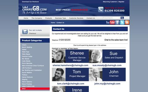 Screenshot of Contact Page chairsgb.com - Contact Us >Home > ChairsGB - captured Sept. 25, 2014