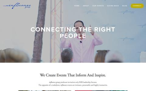 Screenshot of Home Page influencegrp.com - Influence Group // Business Events - captured Feb. 10, 2016