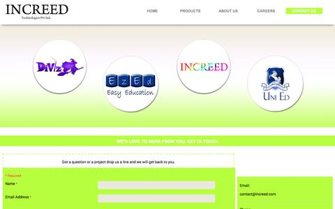 Screenshot of Contact Page increed.com - ::Contact Us:: - captured Oct. 6, 2014