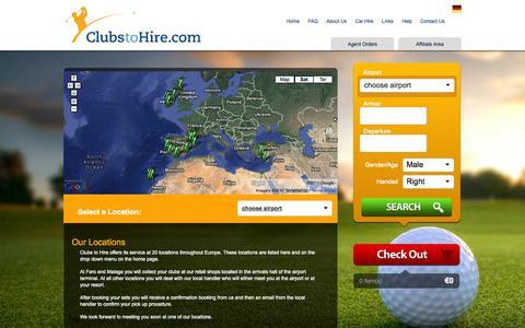 Screenshot of Locations Page clubstohire.com - Golf club hire - captured Sept. 30, 2014