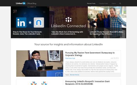 Screenshot of Blog linkedin.com captured July 18, 2014